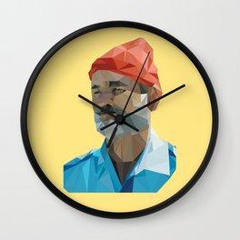 Steve Zissou low poly portrait Wall Clock