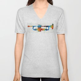 Colorful Trumpet Art Color Fusion By Sharon Cummings Unisex V-Neck