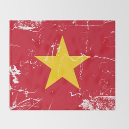 Vietnam Flag with Grunge effect Throw Blanket