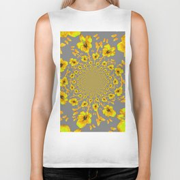 CHARCOAL GREY YELLOW AMARYLLIS BUTTERFLY ART Biker Tank