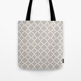 Classic Quatrefoil pattern, warm grey Tote Bag