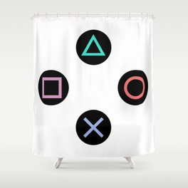 Play with Playstation Controller Buttons Shower Curtain