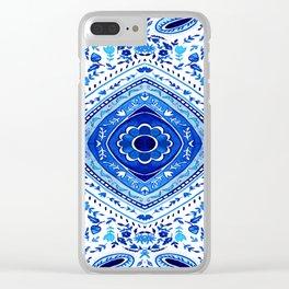 Indigo Mandala Tapestry Pattern 2 Clear iPhone Case