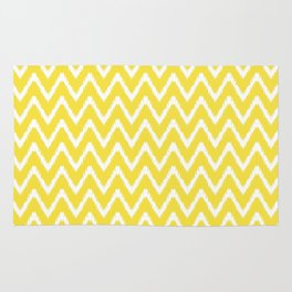 Butter Yellow Southern Cottage Ikat Chevrons Rug