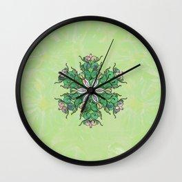 Spring Entropy in Greens Mandala Wall Clock