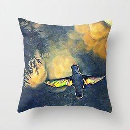 Golden Blue Hummingbird by CheyAnne Sexton Throw Pillow
