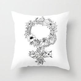 Feminist Flower  2.0 Throw Pillow