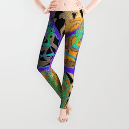 Lavender-Gold Turquoise Butterfly Leggings