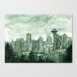 Seattle Skyline Watercolor Space Needle Emerald City 12th Man Art Canvas Print
