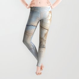 Cotton Latte Marble - Ombre blue and ivory Leggings