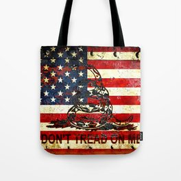 Don't Tread on Me - American Flag And Gadsden Flag Composition Tote Bag