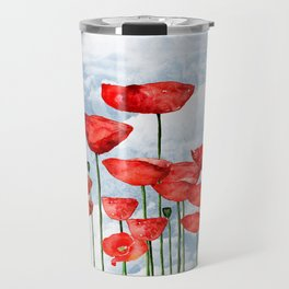 Mouse and poppies on a cloudy day Travel Mug