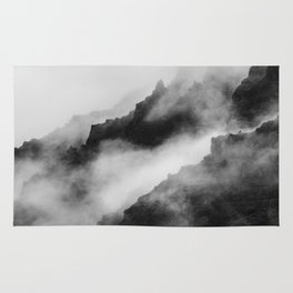 Foggy Mountains Black and White Rug