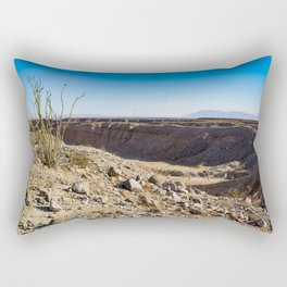 Lone Ocotillo Reaching up to the Blue Sky in front of a Gorge in the Anza Borrego Desert State Park Rectangular Pillow