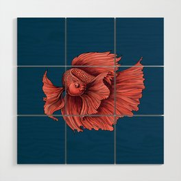 Coral Siamese fighting fish Wood Wall Art