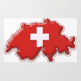 Switzerland Map with Swiss Flag Rug