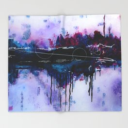 Dawn, pink and fushia black and blue acrylic abstract artwork Throw Blanket