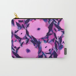 Layered Leaf Floral Pink Carry-All Pouch