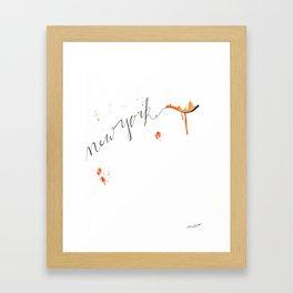 New York Watercolor Typography Framed Art Print
