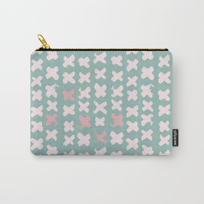 Contemporary X Paint Cross stich Mint Pink Pattern Carry-All Pouch