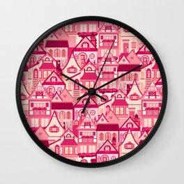 Pink Little Town Wall Clock