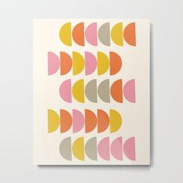 Cute Geometric Shapes Pattern in Pink Orange and Yellow Metal Print