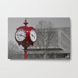 Red Clock Metal Print