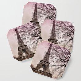 Eiffel Tower Paris in pink Coaster