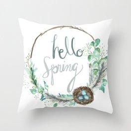 Hello Spring Eucalyptus Wreath with Nest Throw Pillow