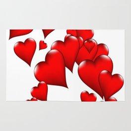 MODERN ART RED VALENTINES HEART  DESIGN Rug