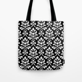 Feuille Damask Pattern White on Black Tote Bag