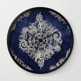 Cream Floral Moroccan Pattern on Deep Indigo Ink Wall Clock
