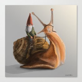 Gnome on Snail Canvas Print
