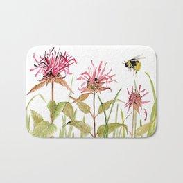 Flowers Bee Balm Pink Garden Wildflowers Nature Art Bath Mat