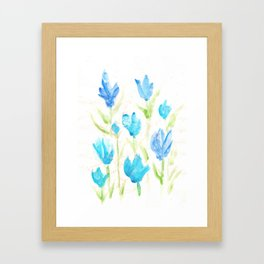 Watercolor flower  Blue wall decoration painting for home Framed Art Print