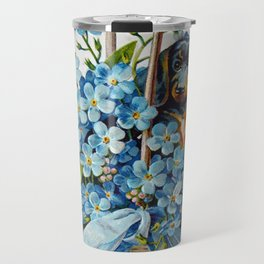 Dachshund and Forget-Me-Nots Travel Mug