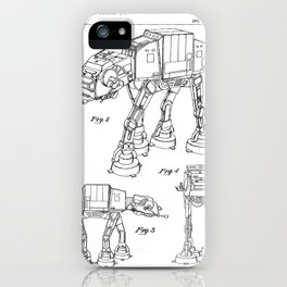 At At Walker Patent - At-At Walker Art - Black And White iPhone Case