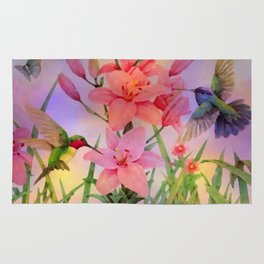 Painterly Hummingbirds And Flowers Rug