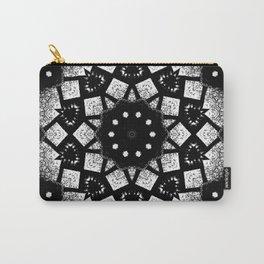 Black White Mosaic Kaleidoscope Mandala Carry-All Pouch