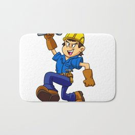 Running man with a wrench Bath Mat