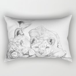 Lioness and cub- feline love Rectangular Pillow