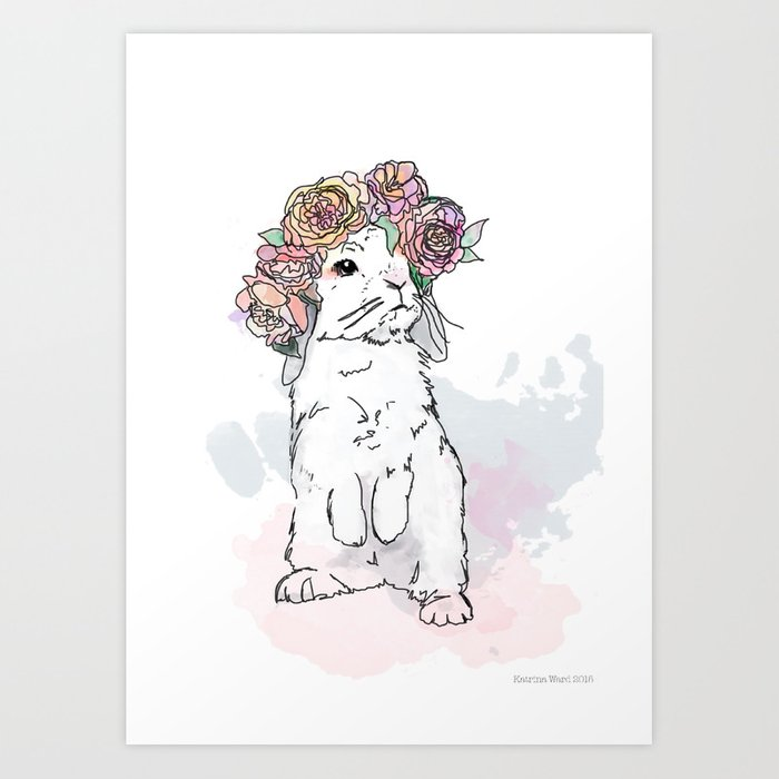 Bunny with Floral Crown Art Print