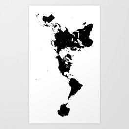 Dymaxion World Map (Fuller Projection Map) - Minimalist Black on White Art Print