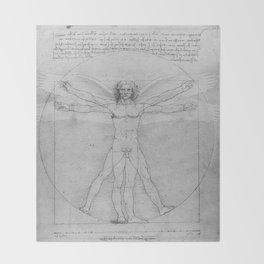 Leonardo da Vinci Vitruvian Man with Wings Study of Angels Throw Blanket