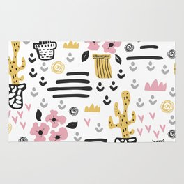 Cute flowers and cactus Rug
