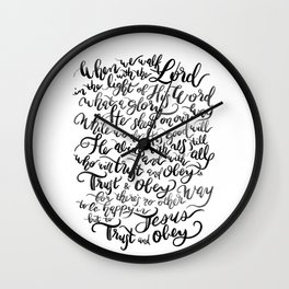 Trust and Obey - Hymn - BW Wall Clock