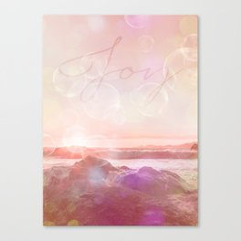 Joy at the sea bubbles sunst ocean typography art Canvas Print