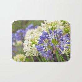 Striking Blue and White Agapanthus Flowers Bath Mat