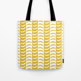 Wavy Stripes Mustard Yellow Tote Bag