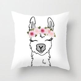 Floral Crown Llama Throw Pillow